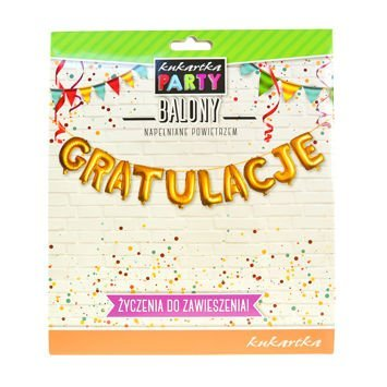 KUKARTKA Zestaw złotych balonów do nadmuchania tworzących napis Gratulacje