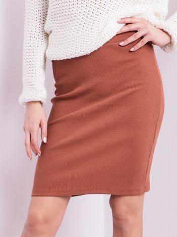 Kakaowa mini spódnica ołówkowa w prążek