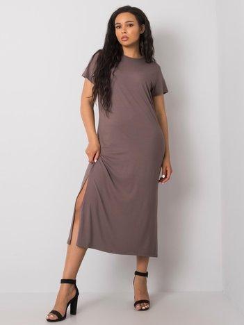 Kawowa sukienka plus size Nanette