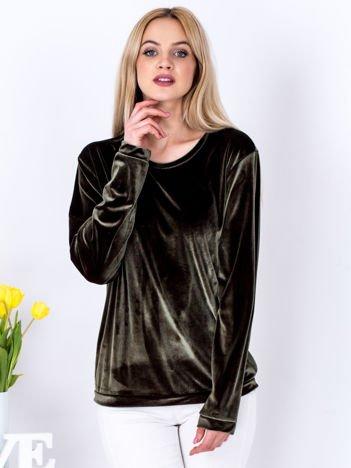 Khaki aksamitna bluza ze ściągaczami