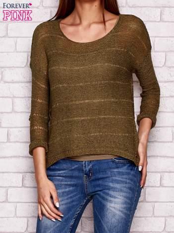 Khaki ażurowy sweter