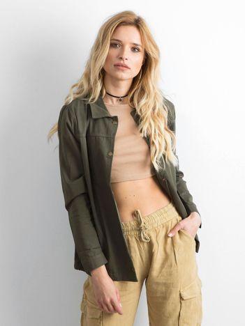Khaki bawełniana kurtka oversize z napisem