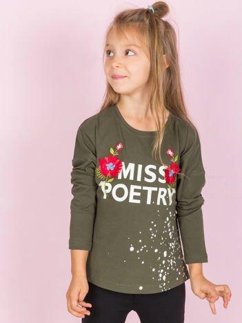 Khaki bawełniane bluzka dziewczęca z folkowym nadrukiem