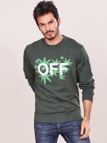 Khaki bluza dla mężczyzny z nadrukiem
