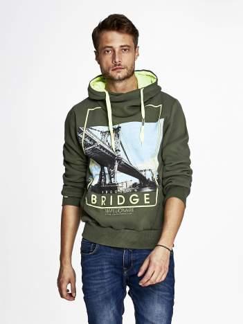 Khaki bluza męska z kapturem i nadrukiem Brooklyn Bridge