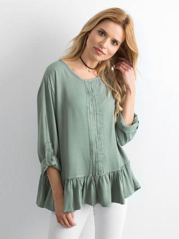Khaki bluzka damska z falbaną