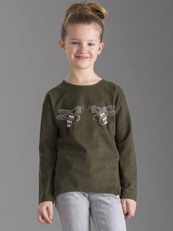 Khaki bluzka dla dziewczynki z błyszczącą aplikacją
