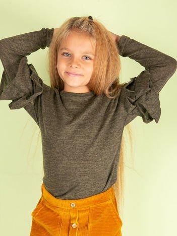 Khaki bluzka dziewczęca z falbankami na rękawach