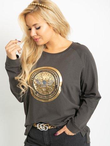 Khaki bluzka plus size Logo