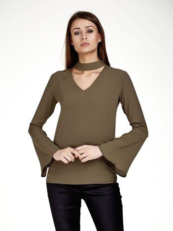 Khaki bluzka z chokerem