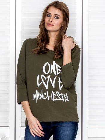 Khaki bluzka z napisem ONE LOVE