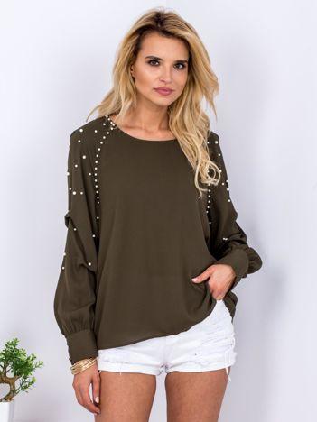 Khaki bluzka z perełkami i drapowaniami na rękawach