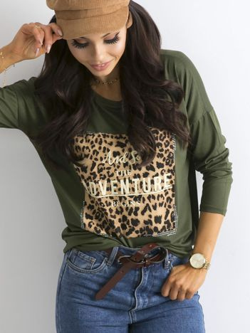 Khaki bluzka ze zwierzęcym nadrukiem