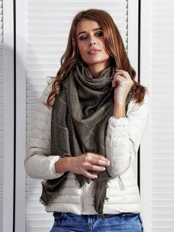 Khaki chusta damska z błyszczącą nitką