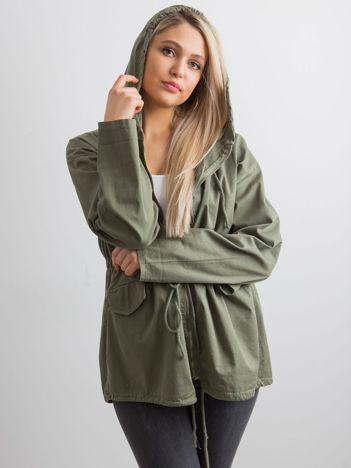 Khaki damska kurtka z kapturem