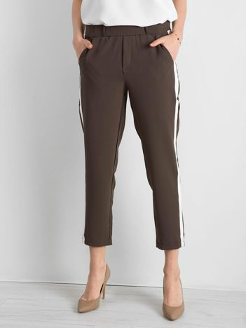 Khaki damskie spodnie z lampasami