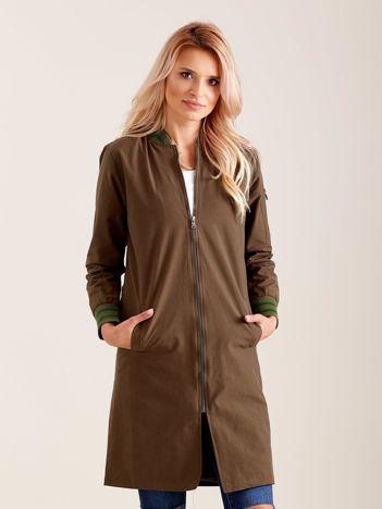 Khaki długa kurtka bomberka