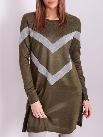 Khaki długi sweter z błyszczącym wzorem