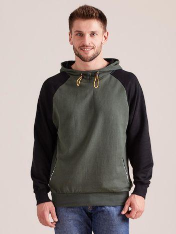 Khaki dresowa bluza męska z kapturem