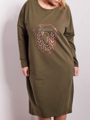 Khaki dresowa sukienka z kieszeniami PLUS SIZE