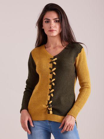 Khaki dwukolorowy sweter