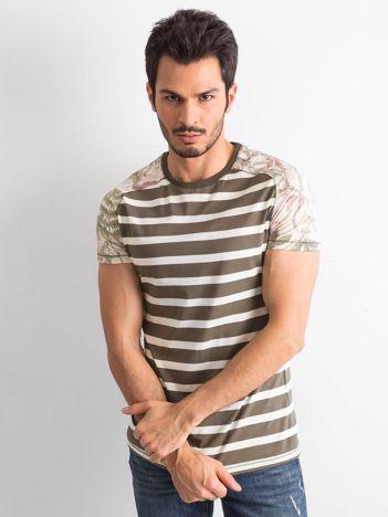 Khaki-ecru  t-shirt męski z nadrukami