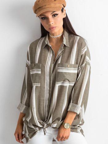 Khaki koszula damska w paski