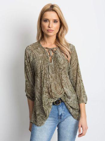 Khaki koszula z motywem paisley