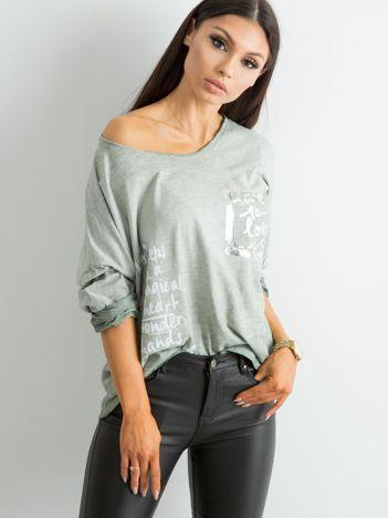 Khaki luźna bluzka damska
