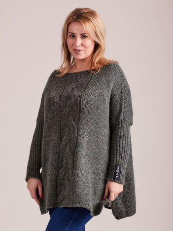 Khaki luźny sweter damski MAGPIE
