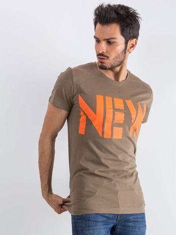 Khaki męski t-shirt Public