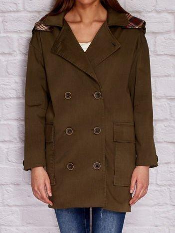 Khaki płaszcz z kapturem