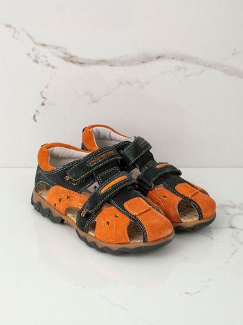 Khaki-pomarańczowe sandały dziecięce