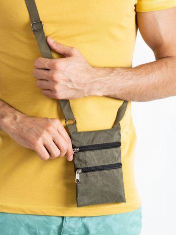Khaki saszetka męska materiałowa