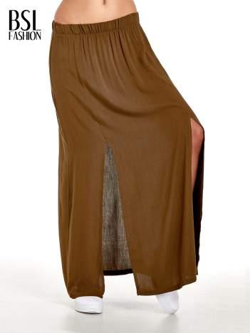 Khaki spódnica maxi z rozporkami z przodu