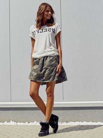 Khaki spódnica moro z falbanami