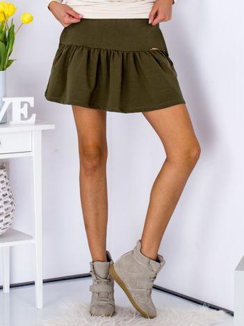 Khaki spódnica z falbaną