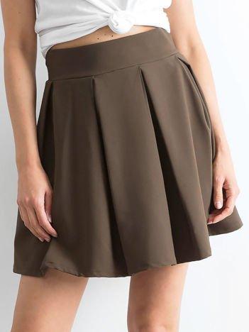 Khaki spódnica z kontrafałdami