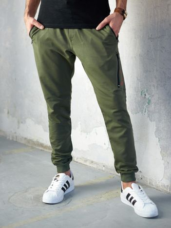 Khaki spodnie dresowe męskie slim fit