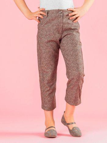 Khaki spodnie dziewczęce z dzianinowym nadrukiem