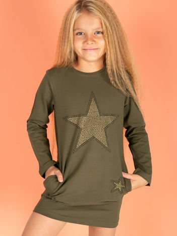 Khaki sukienka dla dziewczynki z gwiazdami z dżetów