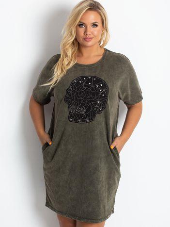 Khaki sukienka plus size Brillance