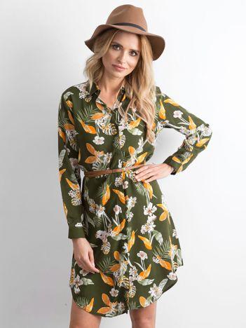 Khaki sukienka szmizjerka w kwiaty