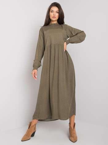 Khaki sukienka z printami Layal FRESH MADE
