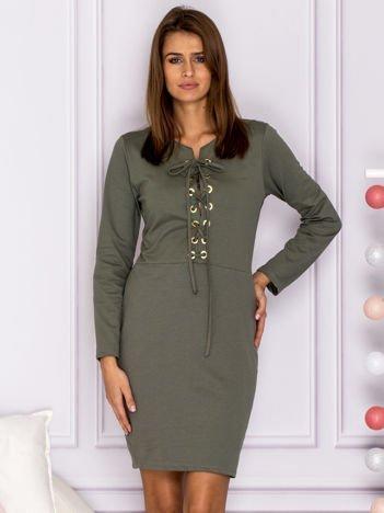 Khaki sukienka ze sznurowaniem