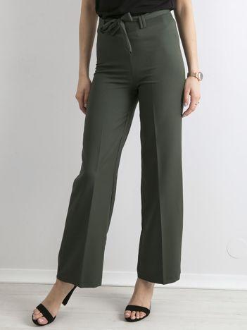 Khaki szerokie spodnie z wiązaniem