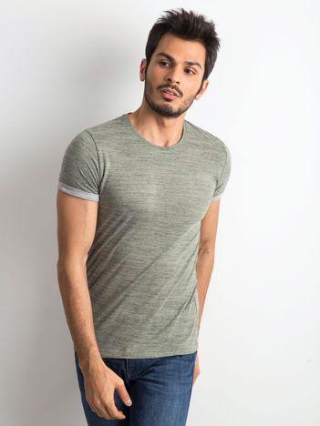 Khaki t-shirt męski z podwijanymi rękawami