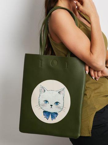 Khaki torba na ramię z ekoskóry
