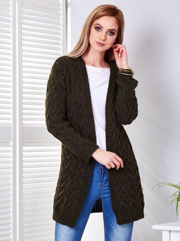 Khaki warkoczowy sweter bez zapięcia
