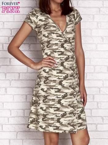 Khaki wiązana sukienka w militarnym stylu Funk n Soul